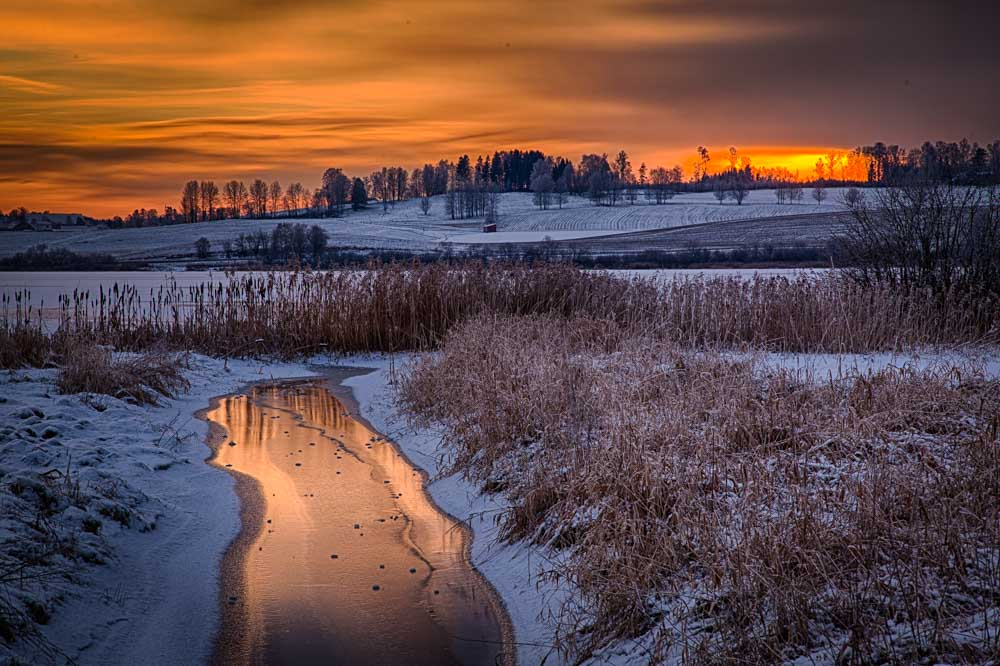 Winter sunset at the Østensjø lake in Ås, Norway. Photo: John Einar Sandvand