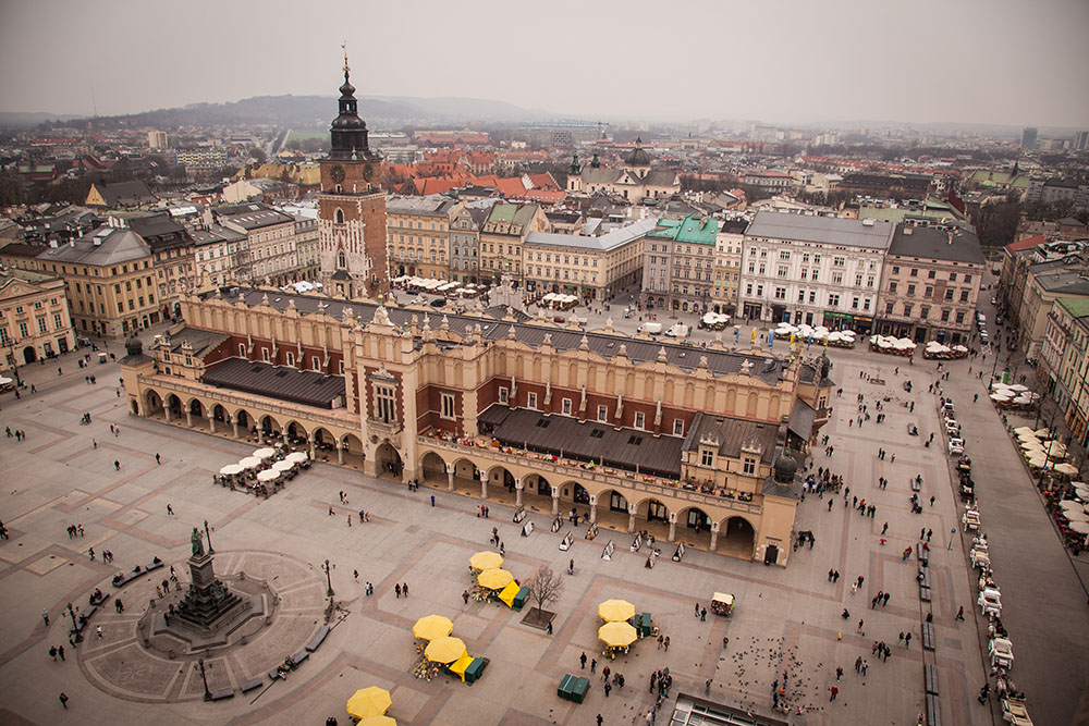 Krakow´s main market square - taken from the tower of St. Mary´s church. Photo: John Einar Sandvand