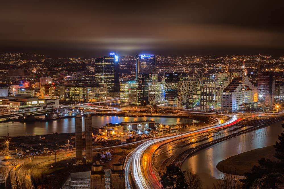The Oslo skyline at night - as seen from the Ekeberg restaurant. Photo: John Einar Sandvand